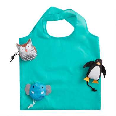 Elephant, Owl And Penguin Foldable Tote Bags Set Of 3