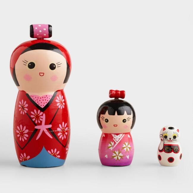 Japanese Nesting Dolls, Set of 3