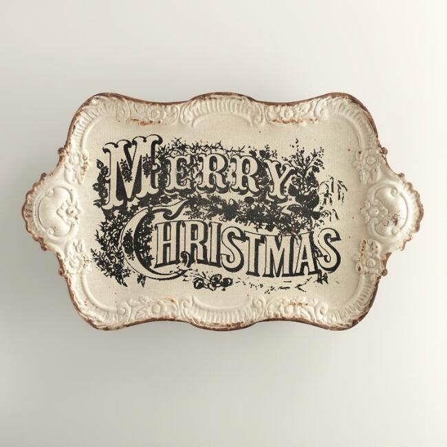 Vintage Merry Christmas Tray