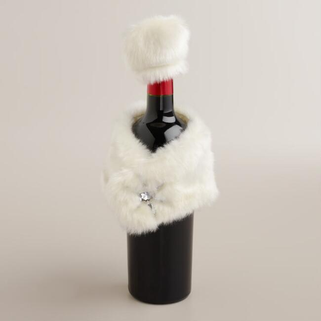 Fur Hat and Shawl Bottle Outfit