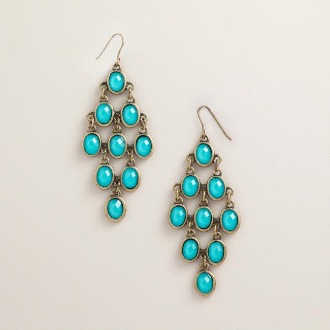 Turquoise and Gold Faceted Chandelier Earrings