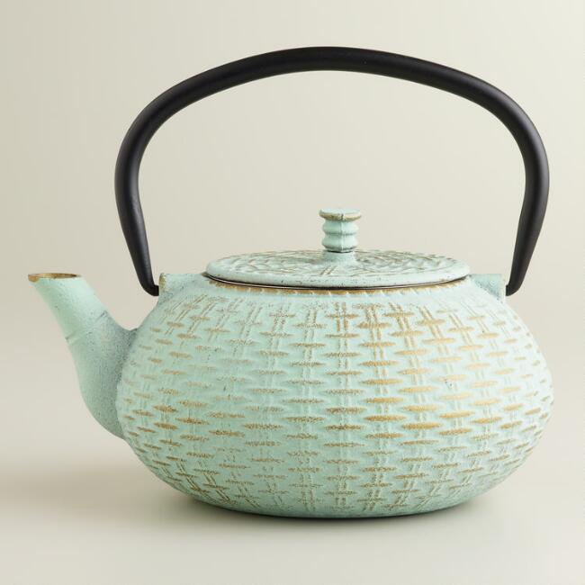 Aqua Cast Iron Basket Weave Teapot