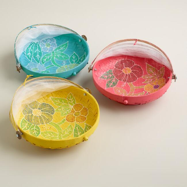 Small Hand-Painted Food Domes, Set of 3