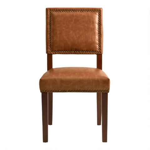 Leather Accent Chairs Metal Legs Caramel.Caramel Jace Dining Chairs Set Of 2