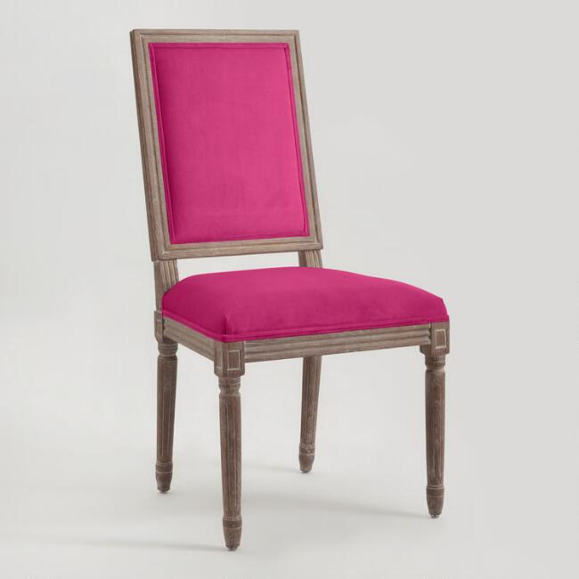 Fuchsia Square-Back Paige Dining Chairs, Set of 2