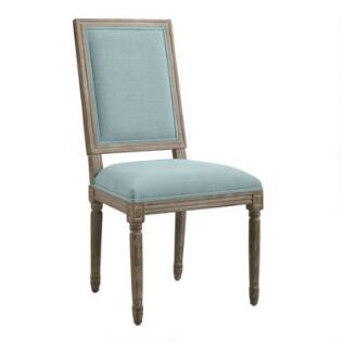 Upholstered Chairs Dining Room tunis 5 piece dining set Blue Linen Square Back Paige Dining Chairs Set Of 2