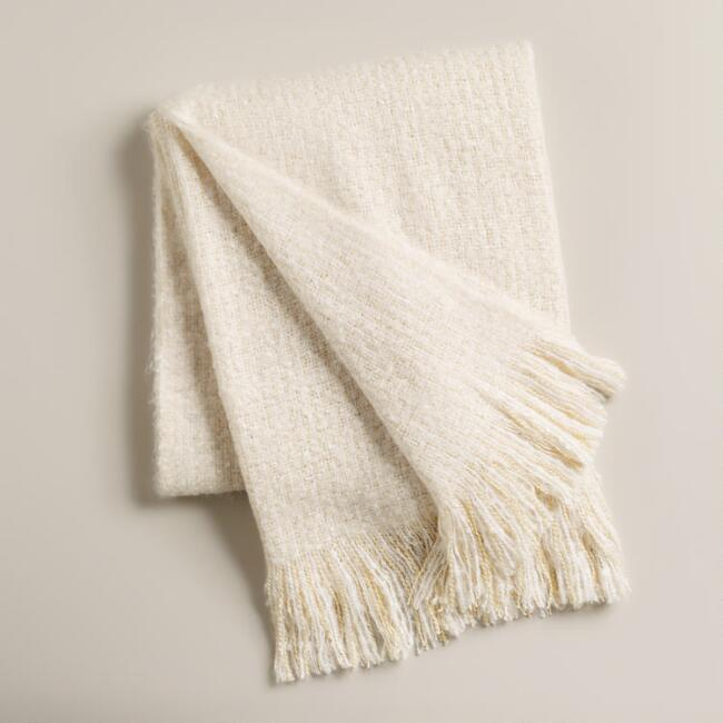 Ivory Lofty Faux Mohair Throw