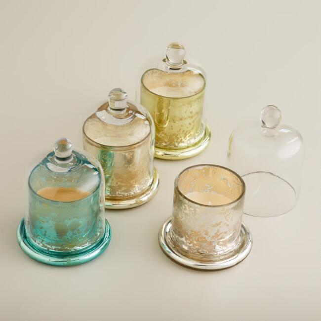 Mercury Glass Scented Filled Candle Cloches, Set of 4