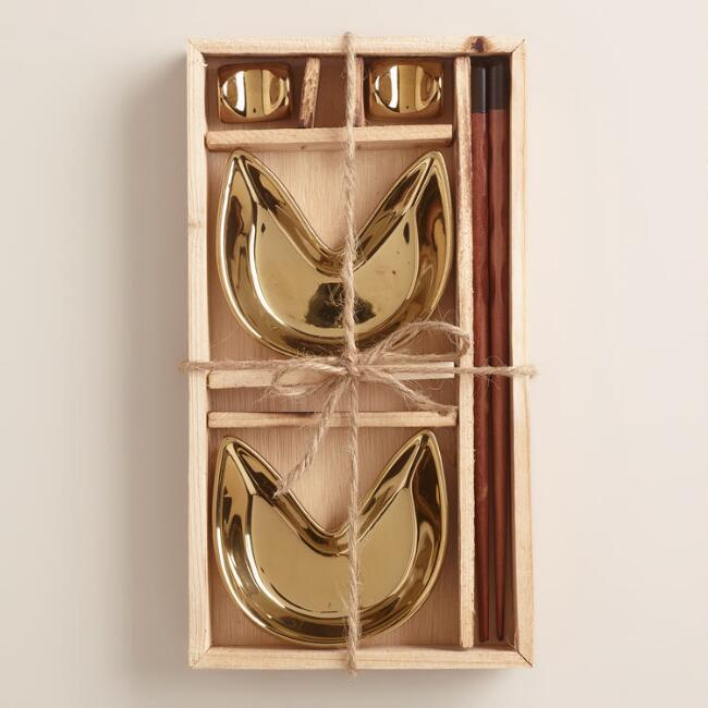 Gold Fortune Cookie 6-Piece Boxed Appetizer Set