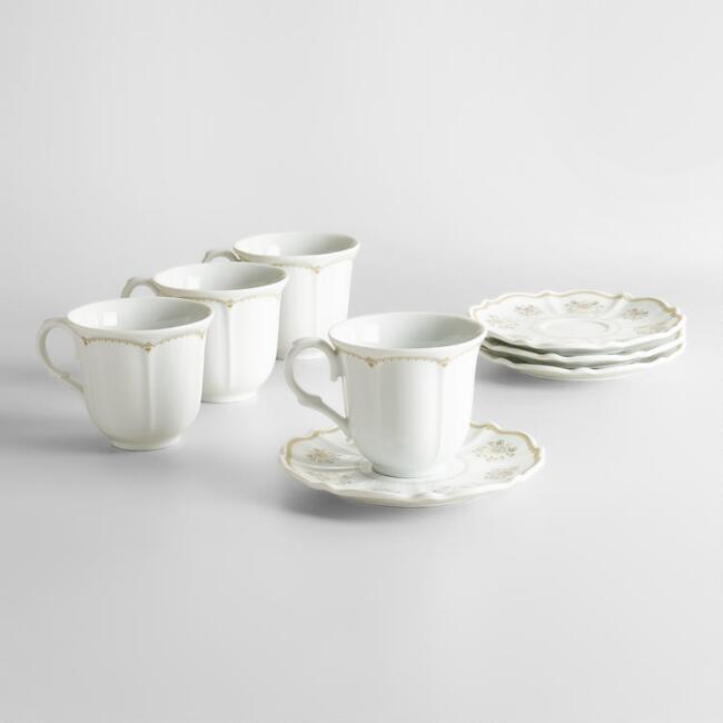 Downton Abbey Teacups and Saucers, Set of 4