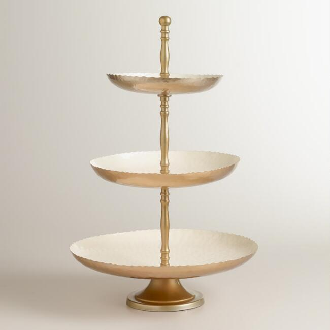 Hammered Metal 3-Tier Stand