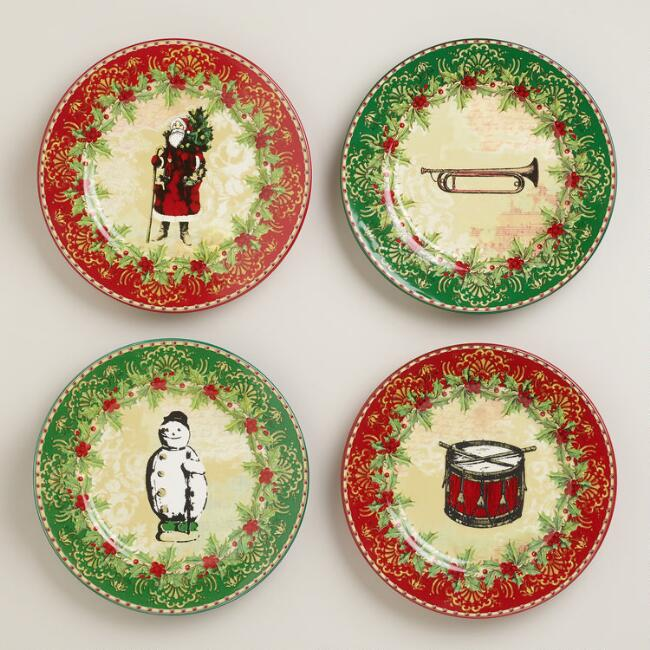 Victorian Christmas Plates, Set of 4