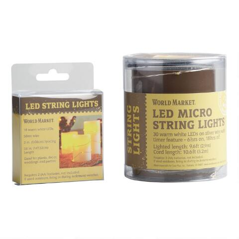 White Micro Led Battery Operated String