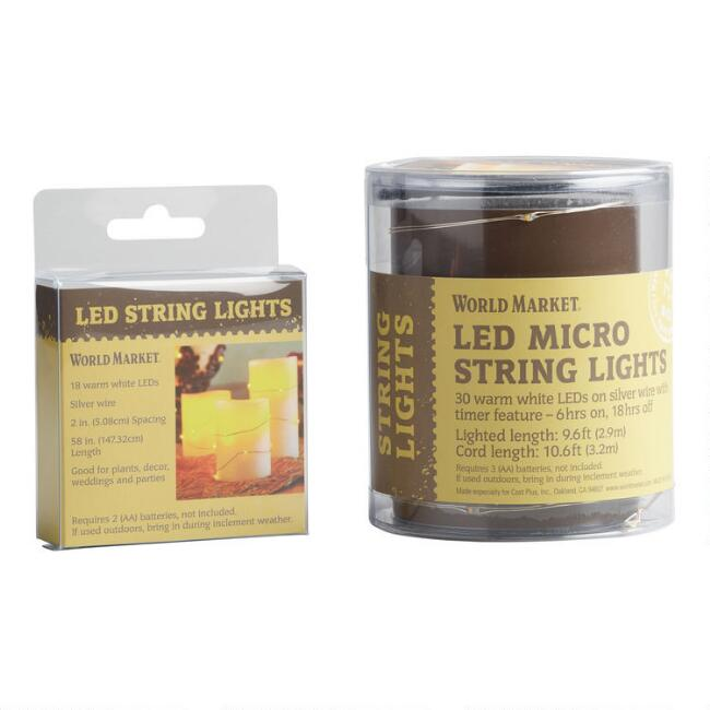 White Micro LED Battery Operated String Lights