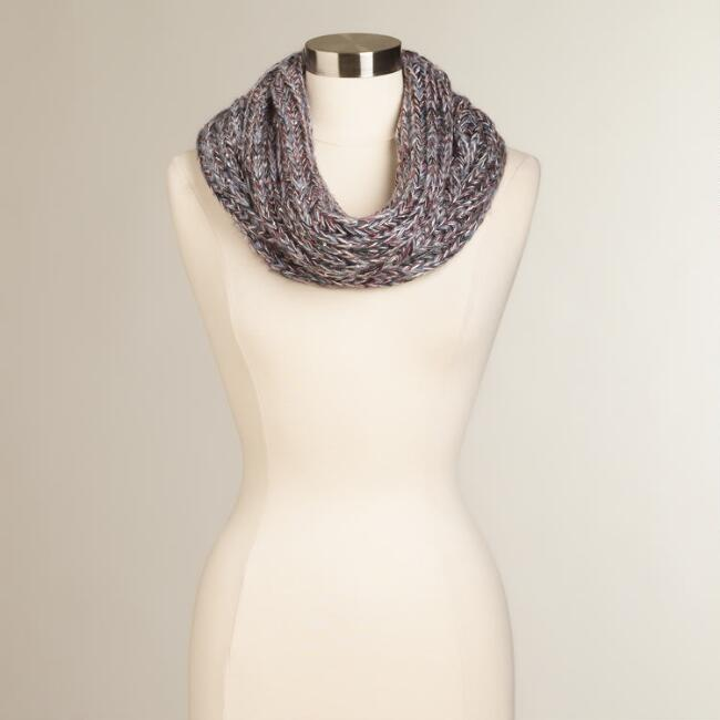 Gray Sequined Funnel Scarf