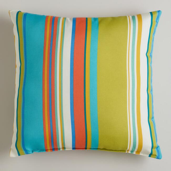 Striped Santorini Outdoor Throw Pillow