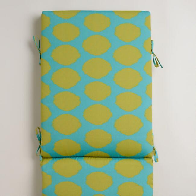 Green and Aqua Dotted Ikat Outdoor Chaise Lounge Cushion
