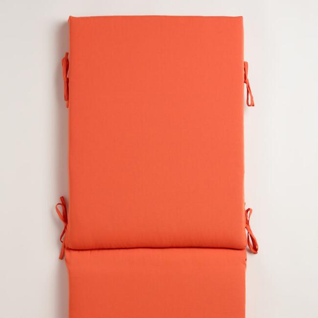 Orange Outdoor Chaise Lounge Cushion