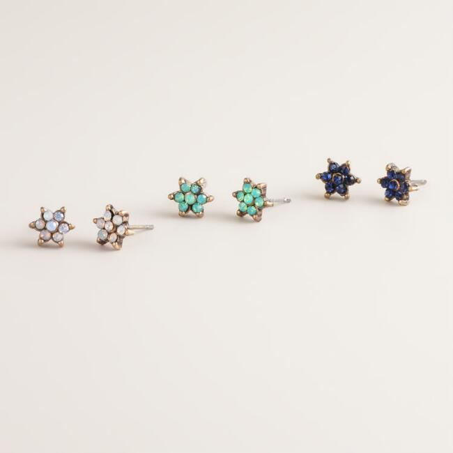 Small Flower Trio Stud Earrings, Set of 3