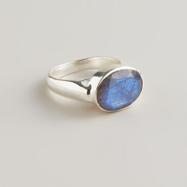 Sterling Silver and Labradorite Oval Ring