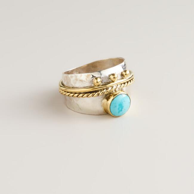 Sterling Silver Gold and Silver Turquoise Band Ring