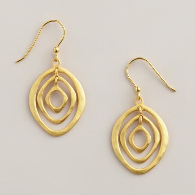 Sterling Silver Gold 3 Ring Oval Drop Earrings