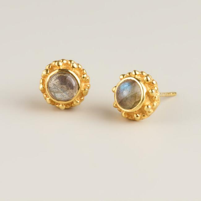 Sterling Silver Gold Labradorite Stud Earrings