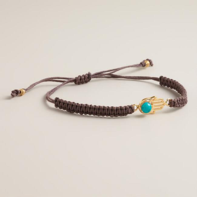 Sterling Silver Gold and Turquoise Hamsa Friendship Bracelet