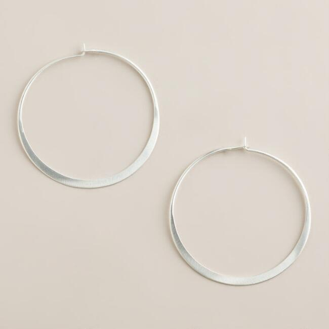 Sterling Silver Matte Hoop Earrings