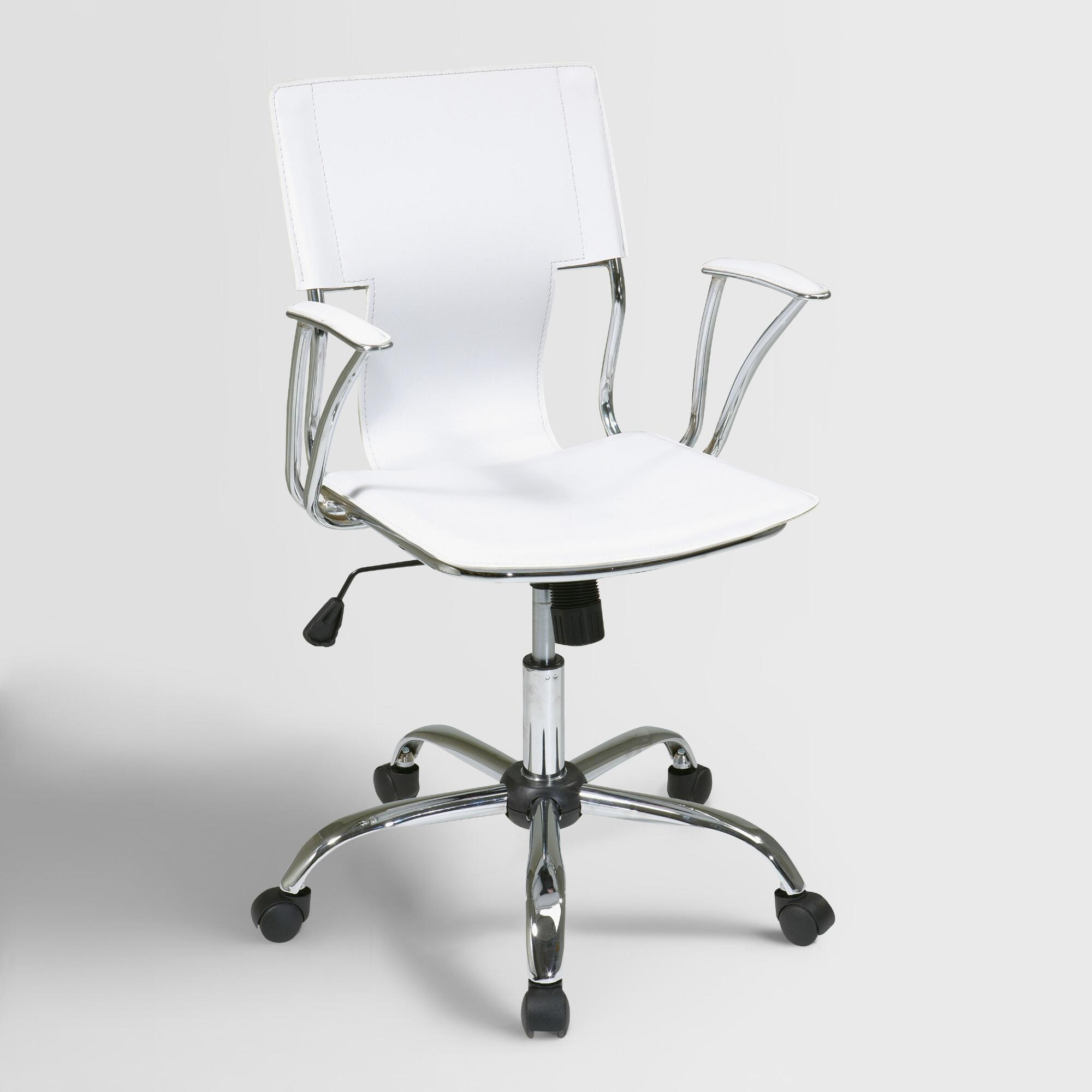 White Ethan Office Chair Fabric By World Market