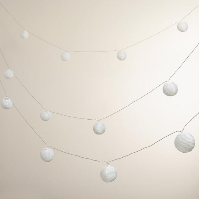White 10-Lantern Solar String Lights