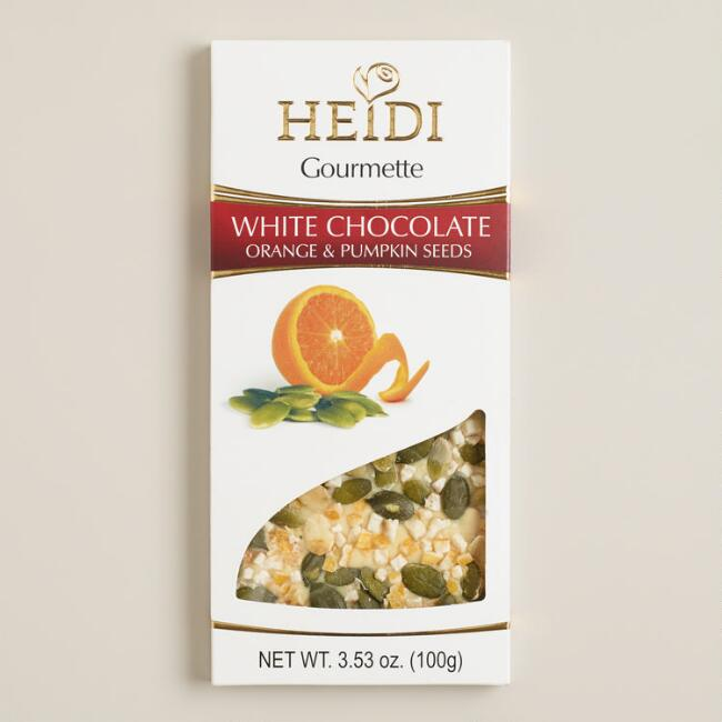 Heidi Orange and Pumpkin Seed White Chocolate Bar