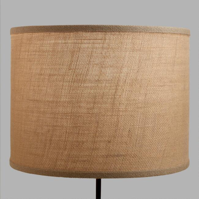 Natural burlap drum table lamp shade world market aloadofball Gallery