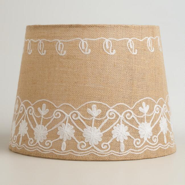 Floral Embroidered Burlap Table Lamp Shade