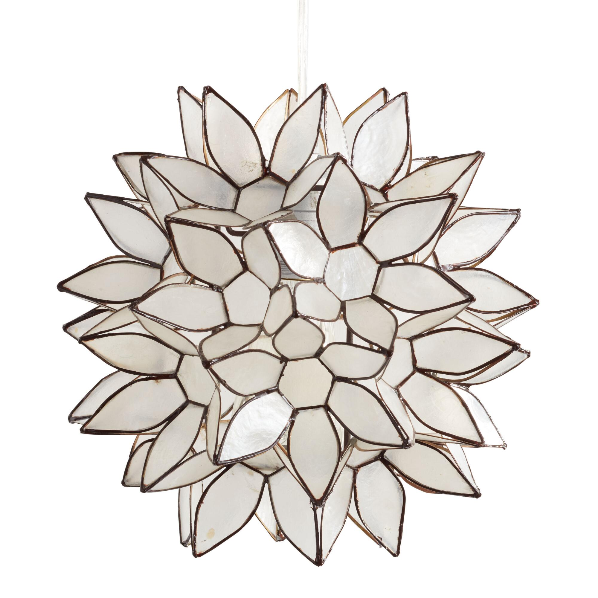 Pendant lighting light fixtures chandeliers world market small capiz lotus pendant shade arubaitofo Images