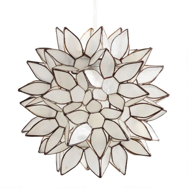 Small Capiz Lotus Pendant Lamp