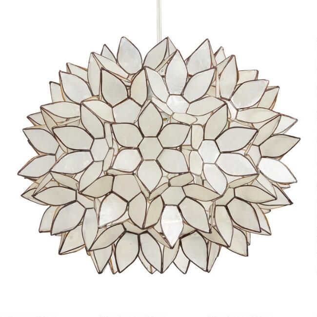 Large Capiz Lotus Pendant Lamp
