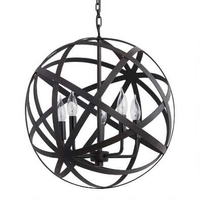 Aged Black Metal Orb 5 Light Chandelier