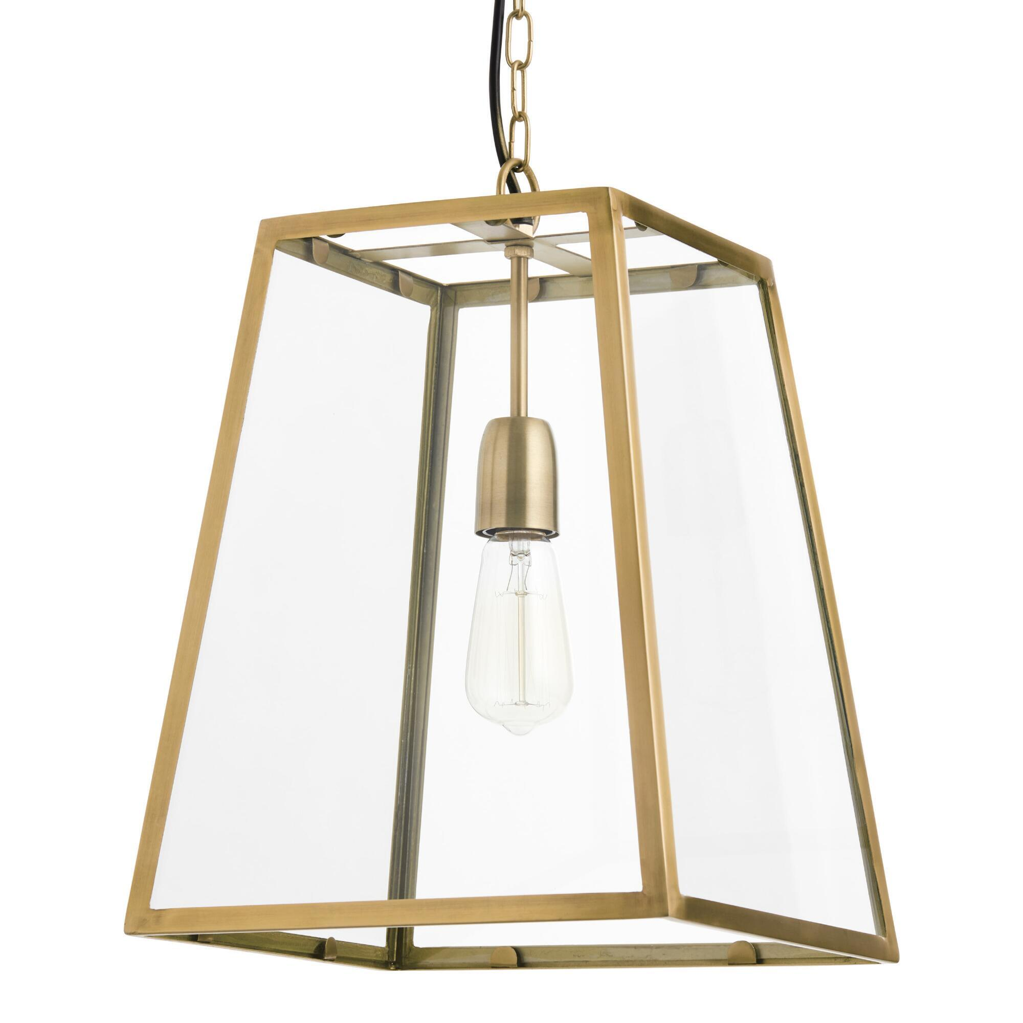 Four-Sided Glass Hanging Pendant Lantern: Black by World Market