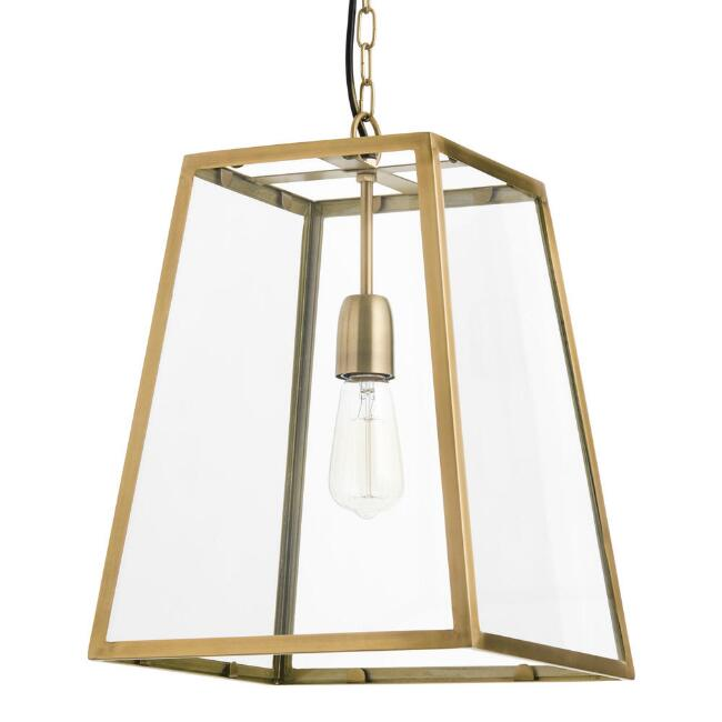 Four Sided Glass Hanging Pendant Lamp