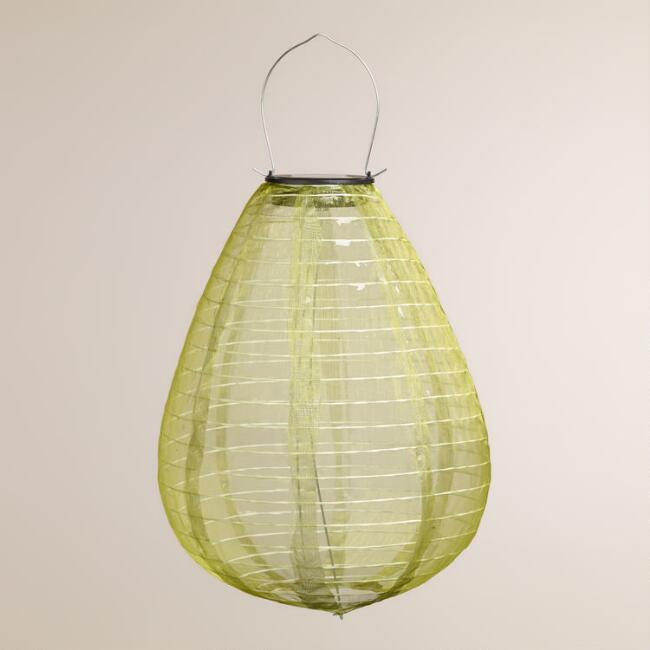 Green Teardrop Solar-Powered LED Lantern