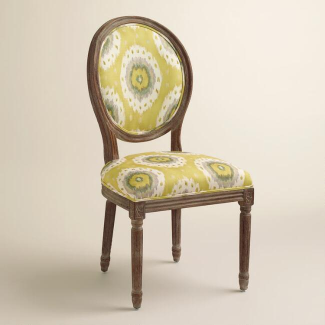 Ikat & Striped Paige Round Back Dining Chairs, Set of 2