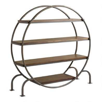 Round Wood and Metal Bookshelf