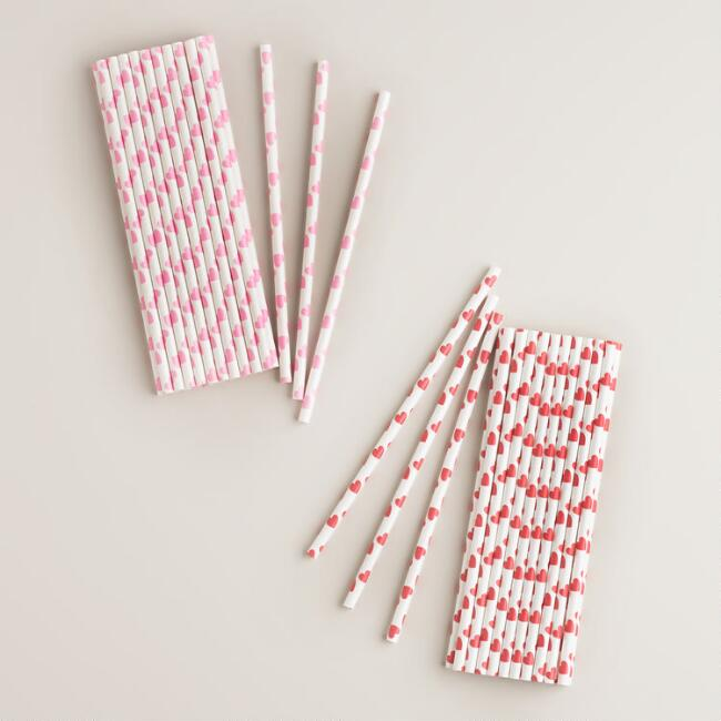 Heart Paper Straws, Set of 2