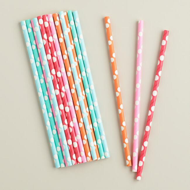 Polk-a-Dot Paper Straws, 25-Pack