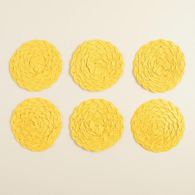 Yellow Poly-Braided Coasters, Set of 6