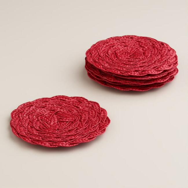 Red Poly-Braided Coasters, Set of 6