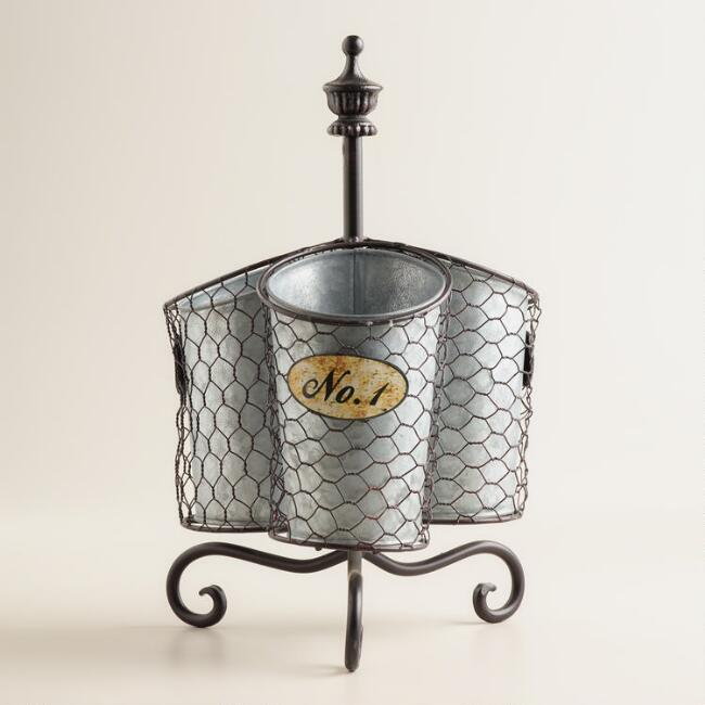 Galvanized Chicken Wire Wine Holder