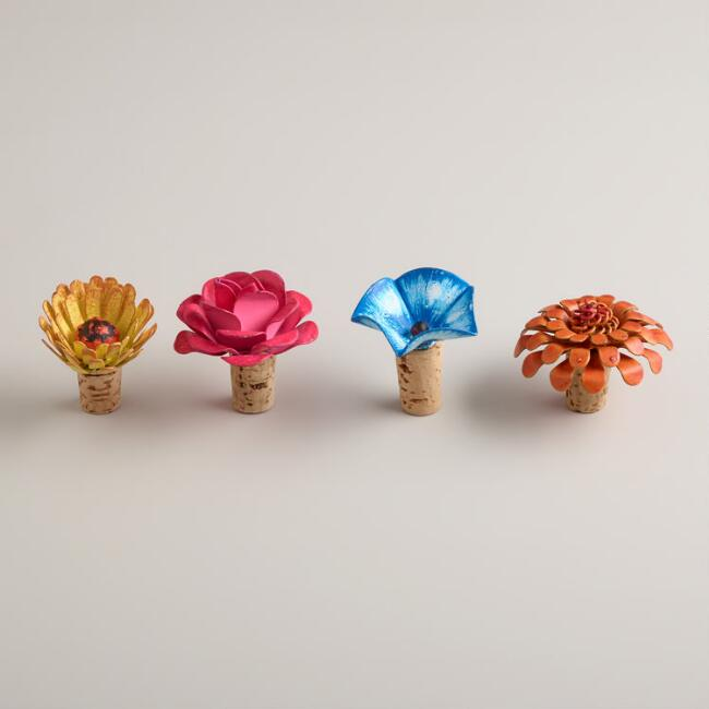 Metal Assorted Flower Wine Bottle Stoppers
