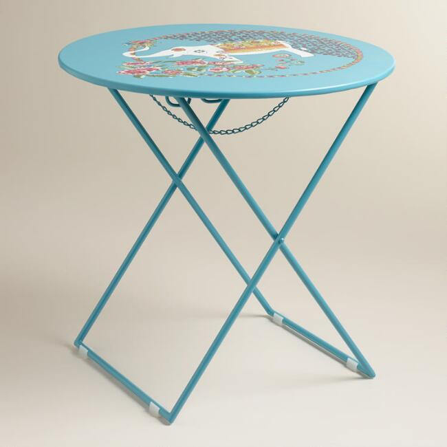Blue Round Metal Accent Table